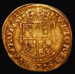 London Coins : A171 : Lot 1213 : Gold Crown Charles I Group B, Second Bust, in ruff, armour and mantle, Reverse: Square-topped shield...