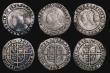 London Coins : A171 : Lot 1293 : Sixpences Elizabeth I (6) 1574 Larger Bust S.2563, mintmark Eglantine, 2.89 grammes, VG. 1575 5 over...