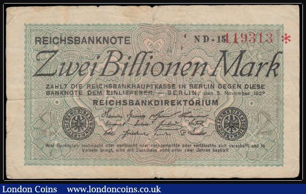 Germany Reichsbanknote 1923 Eleventh Issue 2 Billion Marks Pick 135b watermark variety small; circles dated 5th November 1923 serial number ND-15 119313 star at end and prefix printed in black, VG or better. Uniface black on green underprint with red serial number.  : World Banknotes : Auction 171 : Lot 130