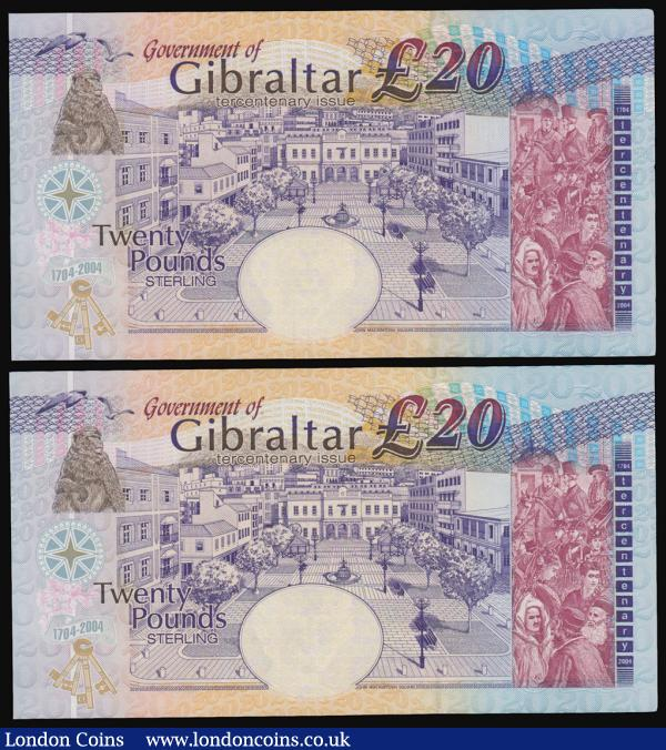 Gibraltar (2) a high grade about UNC - UNC consecutively numbered pair of the Tercentenary of British Rule in Gibraltar (1704-2004) Commemorative issue 20 Pounds Pick 31a dated 4th August 2004 (2) serial numbers CCC 001920 & CCC 001921, special prefix CCC  : World Banknotes : Auction 171 : Lot 135
