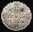 London Coins : A171 : Lot 1383 : Florin 1871 ESC 837, Bull 2874, Davies 753, dies 3A, Top Cross does not overlap the border beads, Di...