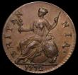 London Coins : A171 : Lot 1564 : Halfpenny 1772 GEORIVS error Peck 900 GVF with a small spot by the last A of BRITANNIA, Rare