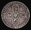 London Coins : A171 : Lot 1677 : Sixpence 1728 Plain in angles, ESC 1603, Bull 1736, Fine, Very rare, rated R2 by ESC and Bull, the r...