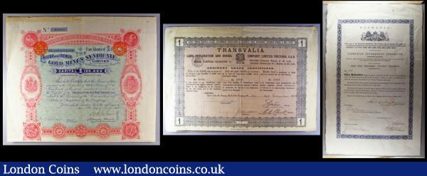 Australia and South Africa (3) Australia, Tasmania Government debenture for £100 sterling, 1867, issued bond, blue/black with GB Royal seal, a rare early Australian document, some light creases, Good Fine, South Africa (2), English and French Gold Mines Syndicate Limited, 1895, bearer warrant for 5 Shares of £1 sterling, blue/green and pink, slight discolouration on the top edge otherwise NVF. Transvalia Land Exploration and Mining Company Limited, Pretoria, 1889, bearer bond for one share, text in three languages, English, French and Afrikaans, Good Fine with minor pencil annotation at the top left : Bonds and Shares : Auction 171 : Lot 2