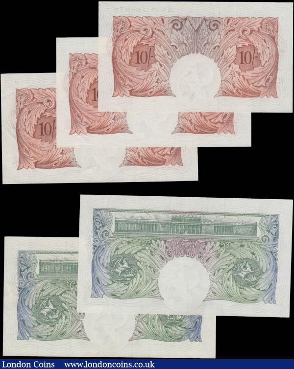 Bank of England O'Brien & Hollom 1955-63 issues (11) in various high grades about EF - GEF to about UNC - UNC comprising O'Brien 10 Shillings B271 Red-Brown Britannia medallion (3) serial numbers C80Z 234013, C90Z 761866 and N56Y 196872. Together with 1 Pounds B273 Green Britannia medallion (2) serial numbers S72K 023844 &  S11J 771625. Along with Hollom Ten Shillings QE2 portrait & seated Britannia B294 issues 1963 (6) serial numbers R36 275057, S38 256914, T22 039318, U27 057103, W77 029256 and X32 216813 : English Banknotes : Auction 171 : Lot 26