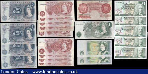 Great Britain (22) in mixed grades comprising Bank of England issues (17) consisting of O'Brien (5) including 10 Shillings B271 Red-Brown Britannia medallion issue 1955 prefix C56Y and 10 Shillings QE2 portrait & seated Britannia B286 issue 1961 (4) prefixes D93, D59, E66 & first series A05. Fforde (9) 10 Shillings QE2 & seated Britannia 1967 issues (5) including B309 (2) prefixes 79Z & 68Y and B310 prefixes A11N, A30N and B90N along with 5 Pounds QE2 & seated child Britannia B312 issue 1967 (4) including prefixes T66 and a consecutive trio Z06 these about UNC - UNC. Page 1 Pound QE2 & seated Britannia B320 issue 1970 prefix Y39E. Somerset 1 Pounds QE2 pictorial & Sir Isaac Newton B341 issues 1981 (2) prefixes DW05 & DY12. Along with Scotland 1 Pounds Commemorative issues celebrating 100th Anniversary of Death of Robert Louis Stevenson Pick 358a (Calloway-Murphy RB94, BY SC835) dated 3rd December 1994  and signed G.R.Mathewson (5) in 2 consecutively numbered runs - a trio RLS0546101 through RLS0546103 and a pair RLS0546049 & RLS0546050, these also UNC. : English Banknotes : Auction 171 : Lot 29