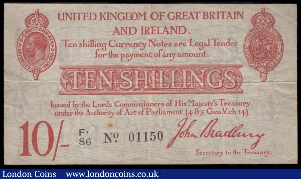 Ten Shillings Bradbury T12.2 Type 2 with the prefix accompanied by a small number 1 issue 1915 serial number F1/86 01150. Red and uniface featuring crowned George V medallion at upper left and crowned St. George & The Dragon medallion at upper right  About VF - VF and a Scarcer variety : English Banknotes : Auction 171 : Lot 31