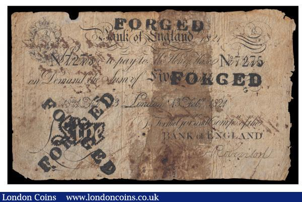 "One Pound Henry Hase 13th Feb 1821 serial No. 7275 ""FORGED"" stamped four times across the front, Good : English Banknotes : Auction 171 : Lot 34"