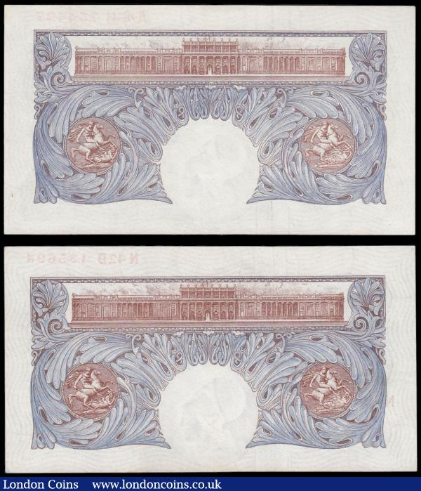 One Pounds Peppiatt World War II Emergency B249 Blue/Pink issues 1940 (2) comprising serial numbers N42D 135693 and A45H 754427. Both About UNC - UNC : English Banknotes : Auction 171 : Lot 45
