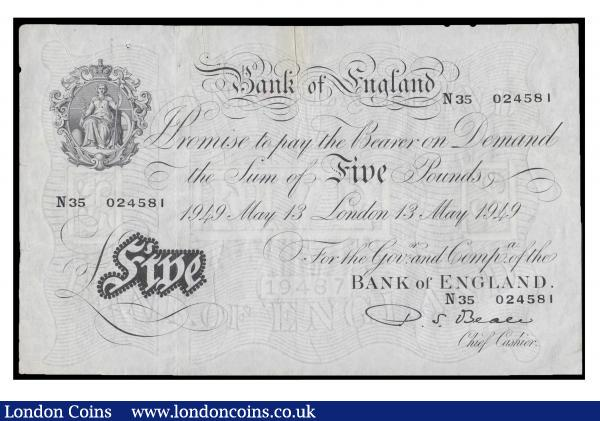 Five pounds Beale B270 13 May 1949 Serial No. N35 024581 VF with some faint brown stains with two pin holes, two tiny tears on left hand side of note. : English Banknotes : Auction 171 : Lot 50