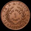 London Coins : A171 : Lot 577 : Egypt Franc 1865 24-sided copper Suez Canal issue, Ch. & A.Bazin KM#Tn3 NEF Rare