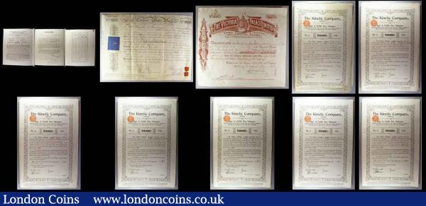 Ephemera includes Bank Deposit Receipts, includes some 18th and 19th Century items, also a group of documents of Temporary Regulations relating to the re-opening of the Stock Exchange 1916-1917, in varied condition (small lot) : Bonds and Shares : Auction 171 : Lot 6