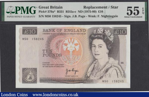Ten pounds Page B331 prefix M50 replacement, PMG About Uncirculated 55 EPQ Ex Mark T Ray Collection : English Banknotes : Auction 171 : Lot 63