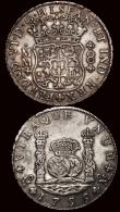 London Coins : A171 : Lot 668 : Mexico 8 Reales (2) 1755 Mo MM KM#104.2 About VF, 1771 Mo FM KM#105 Fine, both with  some old scratc...