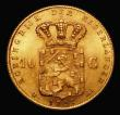 London Coins : A171 : Lot 682 : Netherlands 10 Gulden Gold 1897 KM#118 UNC or very near so and lustrous with light friction to the h...