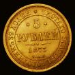 London Coins : A171 : Lot 694 : Russia 5 Roubles Gold 1873 C?? HI Y#B26 EF with pale lustre, scarce thus