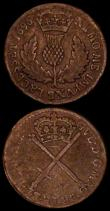 London Coins : A171 : Lot 697 : Scotland (2) Twopence - Turner Charles I (1632-1639 issue) S.5600 mintmark Flower-rosette VG, Bodle ...