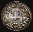 London Coins : A171 : Lot 734 : Switzerland Half Franc 1875B KM#23 AU/UNC with choice colourful tone, an eye catching piece with muc...