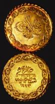 London Coins : A171 : Lot 737 : Turkey Quarter Cedid Mahmudiye Gold (3) AH1223/27 (1836), 0.40 grammes, KM#643 A/UNC and lustrous wi...