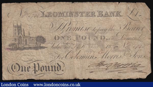 Leominster Bank one pound dated 1824 for Coleman, Morris & Sons, obverse approaching Fine reverse with some damage to the surface design  : English Banknotes : Auction 171 : Lot 75