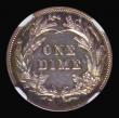 London Coins : A171 : Lot 753 : USA Ten Cents 1892 Proof, Right ribbon end free of wreath, Breen 3470, in an NGC holder and graded P...