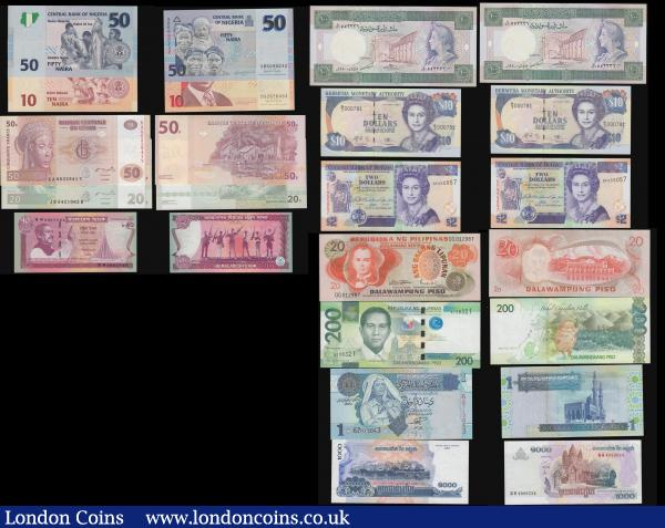 Bangladesh 40 Taka 2011 P60, Belize 2 Dollars 2007 Pick 66, Bermuda $10 1999 P42d, Cambodia 1000 Riels 2007 P58b, Congo DR 50f 2007 P97 and 20f 2007 P94A, Eritrea 50 Nakfa 2004 P7, Fiji $2 P109, $10 P111 and $20 P112,  Libya (2) 1 Dinar ND(2004) Pick 68a, 5 Dinars Pick 36, Nicaragua P150 and P162, Nigeria 10 and 50 Naira 2007, Philippines 200 Piso 2010 P209, 20 Piso P155, Serbia 10 Dinara P46, 50 Dinara P40, 100 Dinara P49,  Syria 100 Pounds Pick 104d a high grade group generally Unc or near so : World Banknotes : Auction 171 : Lot 85