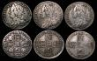 London Coins : A171 : Lot 967 : Sixpences (7) 1698 Third Bust, Plain in angles Good Fine, 1707E Good Fine, 1711 Good Fine/NVF with s...