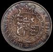 London Coins : A172 : Lot 1027 : Halfcrown 1818 ESC 621, Bull 2099 NEF and colourfully toned, with some contact marks