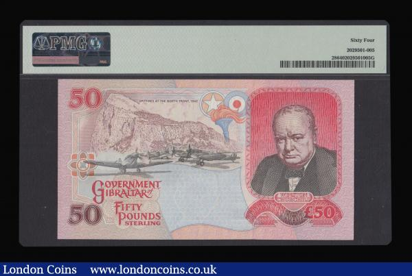 Gibraltar £50 1st July 1995, Reverse with Churchill portrait, First prefix AA050655, Pick 28a in a PMG holder and graded Choice UNC 64 : World Banknotes : Auction 172 : Lot 104