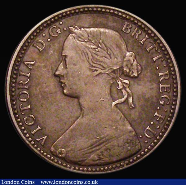 Halfpenny 1860 Beaded Border Freeman 260A dies 1*+A No tie-knot, C over lower C in VICTORIA, Fine, Rare : English Coins : Auction 172 : Lot 1069