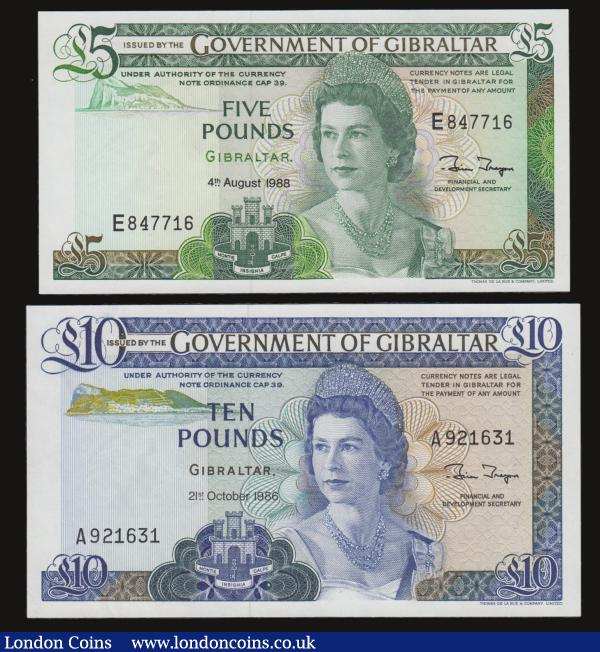 Gibraltar Ten Pounds 21.10.1986 Pick 22b Unc and Five Pounds 4.8.19688 Pick 21b both Unc : World Banknotes : Auction 172 : Lot 108