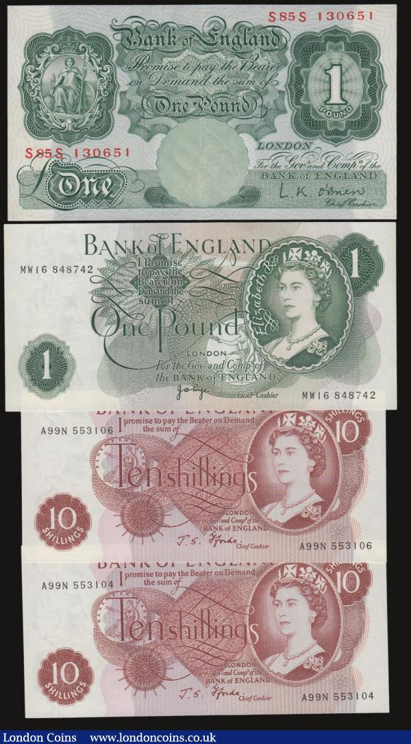 Bank of England (4) a mixed grade group VF-GVF to about UNC comprising an O'Brien Britannia medallion 1 Pound B274 Replacement  issue 1955 serial number S85S 130651. A pair of Fforde QE2 portrait 10 Shillings B310 (2) a near consecutive duo A99N 553104 & A99N 553106. Together with a Page QE2 portrait 1 Pound B323 Replacement issue 1970 serial number MW16 848742. : English Banknotes : Auction 172 : Lot 11