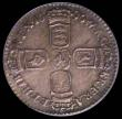 London Coins : A172 : Lot 1263 : Sixpence 1696y First Bust, Large Crowns, Early Harp ESC 1539, Bull 1296, attractively toned with blu...