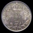 London Coins : A172 : Lot 1288 : Sixpence 1890 ESC 1458, Bull 3280, Davies 1167 dies 1E, UNC with a colourful and attractive tone, in...