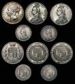 London Coins : A172 : Lot 1530 : Crowns to Shillings (10) Crown 1891 ESC 301, Bull 2591 VF/GVF. Double Florins (3) 1887 Roman 1 in da...