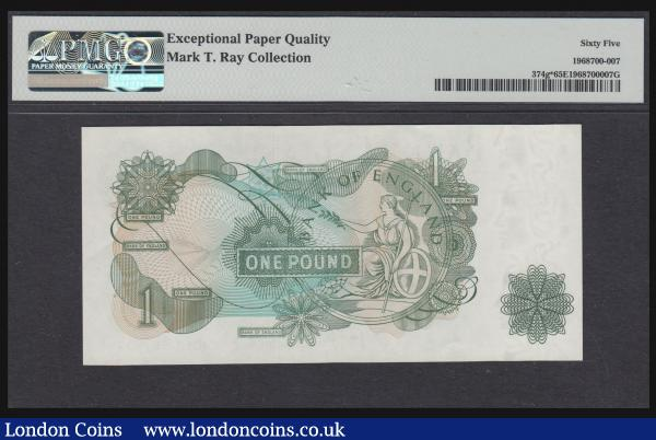 One Pound Page replacement B323 serial number MU19 897537 PMG 65 EPQ rare thus, Ex Mark T Ray Collection Lot 609 (part) : English Banknotes : Auction 172 : Lot 32