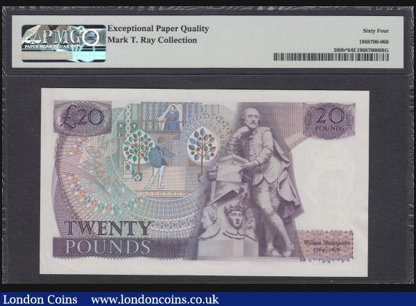 Twenty pounds Page B329 issued 1970, replacement series M02 590842 PMG 64 EPQ desirable thus, a scarce short run. Ex MT Ray Collection Lot 703 (part) : English Banknotes : Auction 172 : Lot 33