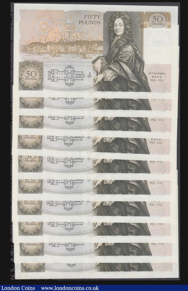 Fifty pounds Somerset B352 issued 1981 (10 consecutives) series B10 323150 through to B10 323159, Christopher Wren on reverse, Pick381a, about UNC-UNC : English Banknotes : Auction 172 : Lot 36
