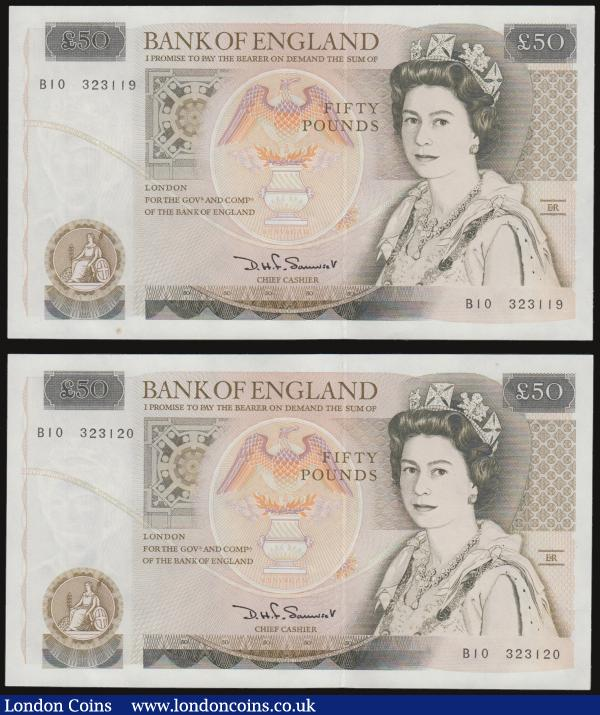 Fifty pounds Somerset B352 issued 1981 (2 consecutives) series B10 323119 and 120, Christopher Wren on reverse, Pick381a, about UNC-UNC : English Banknotes : Auction 172 : Lot 39