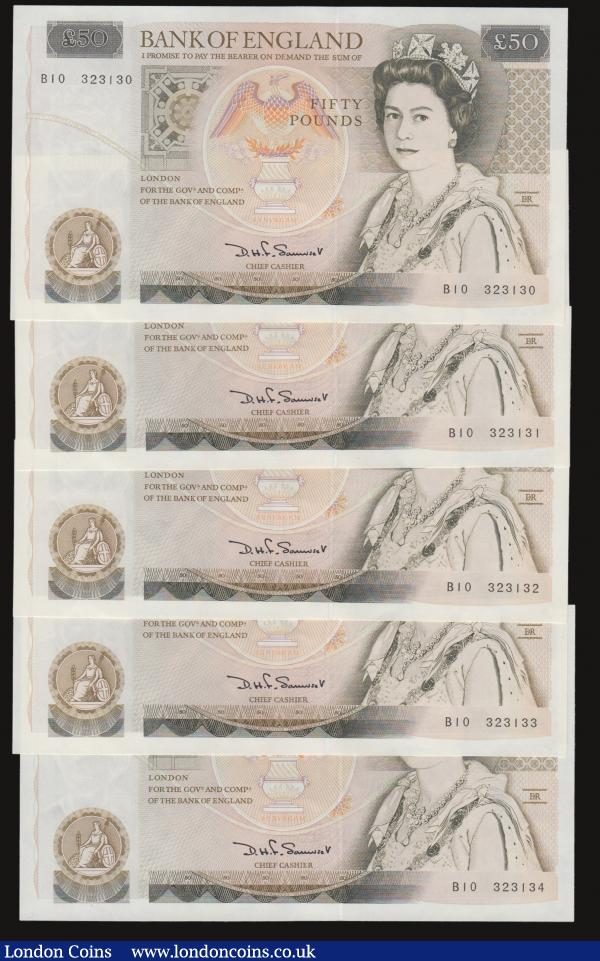 Fifty pounds Somerset B352 issued 1981 (5 consecutives) series B10 323130 through to B10 323134, Christopher Wren on reverse, Pick381a, about UNC-UNC : English Banknotes : Auction 172 : Lot 43