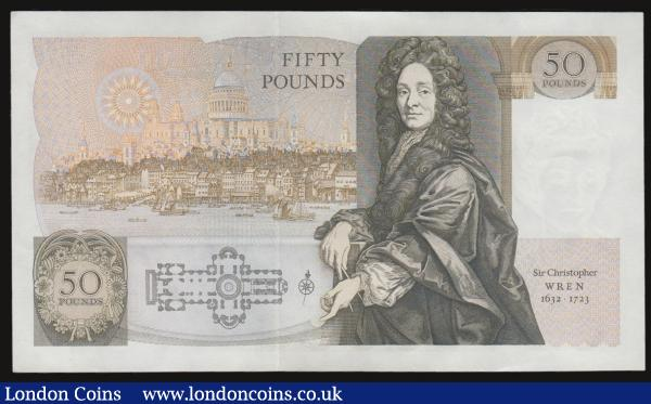 Fifty pounds Somerset B352 issued 1981 series B10 323110, Christopher Wren on reverse, Pick381a, about UNC-UNC : English Banknotes : Auction 172 : Lot 45