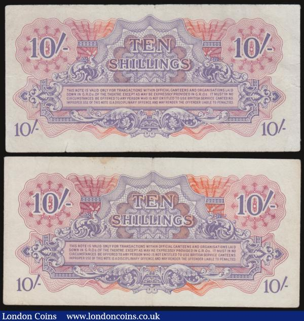 British Armed Forces (2) a pair of 10 Shillings Pick M14a ND 1946 including serial number B/7 241428, Fine marginal tears pressed along with serial number B/1 109422, VF or about. : English Banknotes : Auction 172 : Lot 53
