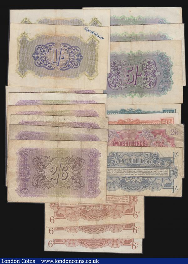 British Military Authority (18) Shilling Pick M2 VF (2) one with Tripolitania hand written in ink reverse,  2/6 Pick M3 (6) Fine or near so, 5/- Pick M4 Fine-VF (3), Sixpence Pick M10 (3) Fine, VF and EF, Shilling Pick M11 VG-F, 2/6 Pick M12 VG, 3d Pick M16 VF, 6d Pick M17 VF : English Banknotes : Auction 172 : Lot 56