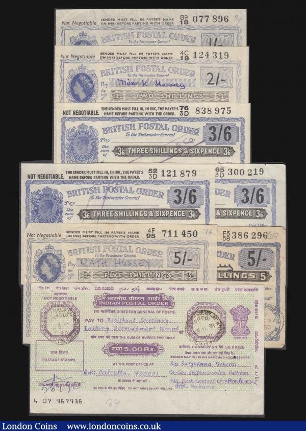Postal Orders (9) GB (8) Five Shillings 1950 and 1962, Three Shillings and Sixpence (3) 1955, 1956 and 1957, Two Shillings 1965, One Shilling 1960, and India Five Rupees 1991, in mixed grades : English Banknotes : Auction 172 : Lot 59
