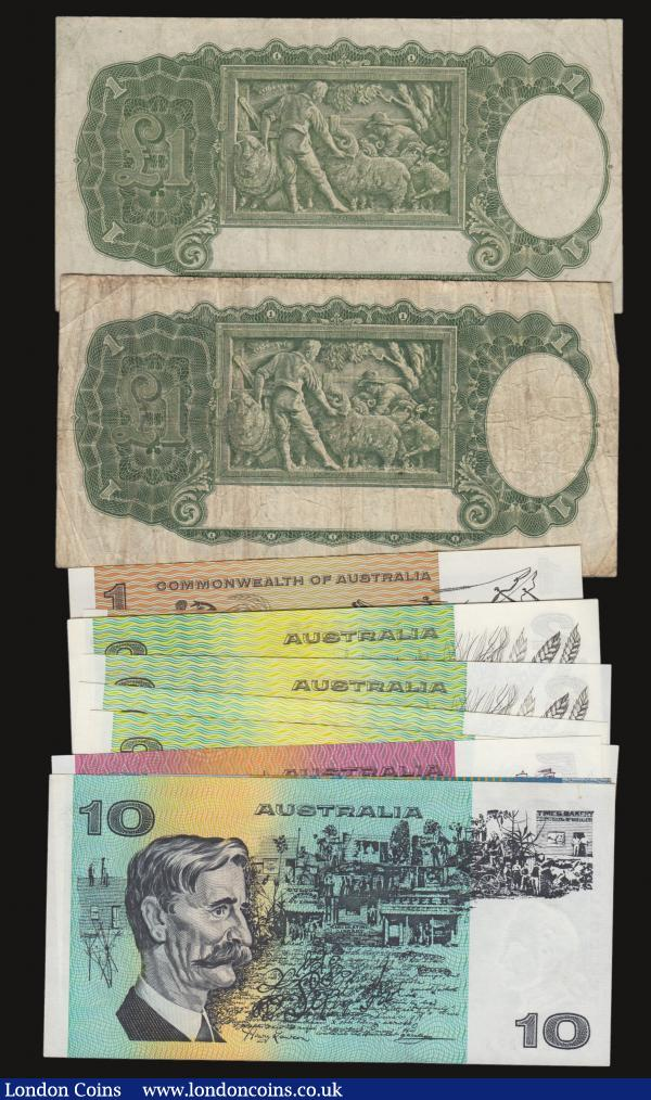 Australia One Pound  George VI 1949 Pick 26c (2) one Fine the other VF, then in high grades Unc or near so Dollars (3) 1969 Pick 37c, 1976 Pick 42b, 1983 Pick 42d, 2 Dollars 1973 Pick 43c (5), 5 Dollars 1991 Pick 44g, 10 Dollars 1979 Pick 45c this EF, 10 Dollars 2003 Pick 58b aUnc  : World Banknotes : Auction 172 : Lot 67