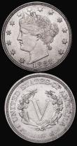 London Coins : A172 : Lot 688 : USA (2) Dollar 1924 Breen 5720 Lustrous UNC, 5 Cents 1883 Breen 2529 UNC