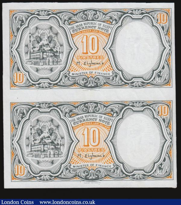 Egypt 10 Piastres ND(1940) Pick 187 an uncut sheet of two and without signature, serial number and prefix Unc : World Banknotes : Auction 172 : Lot 87