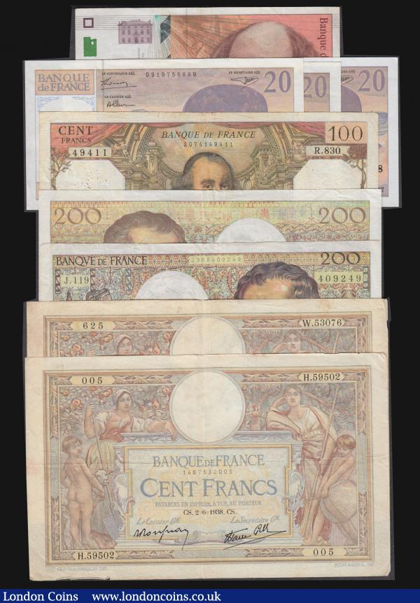 France (9) 200 Francs 1992 issue Pick 155e (2) both Near Fine, 100 Francs (4) 1937 Pick 86a VG with some staple holes, 1938 Pick 86a VG with some staple holes at the left, 1974 Pick 149d VG with many pinholes, 1997 Cezanne Pick 158a Fine, Twenty Francs 1997 Debussy issues (3) Pick 151i NVF to NEF : World Banknotes : Auction 172 : Lot 91