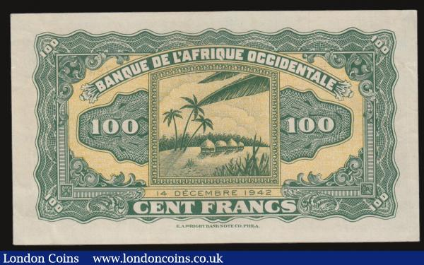 French West Africa 100 Francs World War II issue Pick 31a dated 14th December 1942 variety with serial numbers block N151 794 number 3762794, a presentable GVF - about EF. Black on pink underprint featuring a Baobab tree and native people illustration at centre obverse. The reverse with an illustration of a beach scene with palm trees and huts on stilts in the water at centre. These issues were ordered by the Free French and printed by E.A. Wright Banknote Company, Philadelphia. : World Banknotes : Auction 172 : Lot 97
