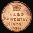 London Coins : A172 : Lot 993 : Half Farthing 1839 Peck 1590 UNC with around 80% lustre, a few scattered small tone spots barely det...
